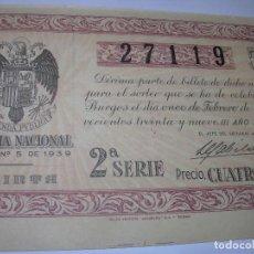 Lotería Nacional: DECIMO LOTERIA.....AÑO TRIUNFAL..1.939. Lote 73416351