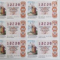 Lotería Nacional: 6 BILLETES LOTERIA NACIONAL DE 1961. MOLINO DEL CAMPO DE CARTAGENA. Lote 74001983