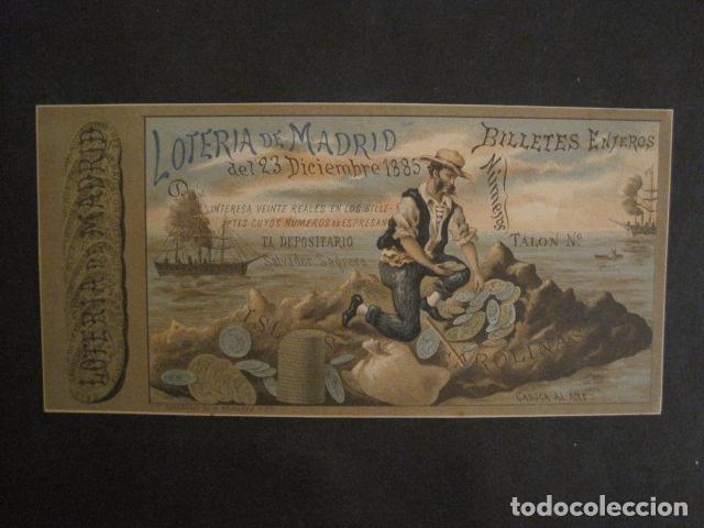 LOTERIA DE MADRID - 23 DE DICIEMBRE DE 1885 -VER FOTOS - (V-8493) (Coleccionismo - Lotería Nacional)