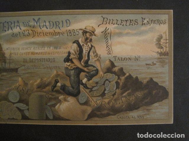 Lotería Nacional: LOTERIA DE MADRID - 23 DE DICIEMBRE DE 1885 -VER FOTOS - (V-8493) - Foto 3 - 74073451