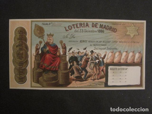 LOTERIA DE MADRID - 23 DE DICIEMBRE DE 1886 -VER FOTOS - (V-8494) (Coleccionismo - Lotería Nacional)
