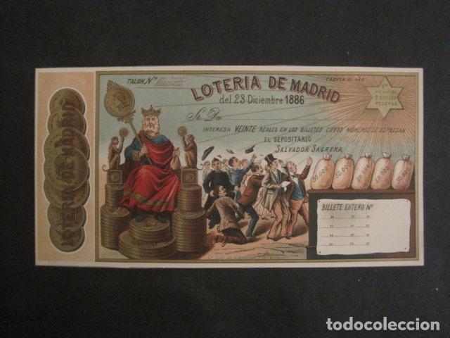 Lotería Nacional: LOTERIA DE MADRID - 23 DE DICIEMBRE DE 1886 -VER FOTOS - (V-8494) - Foto 2 - 74073551