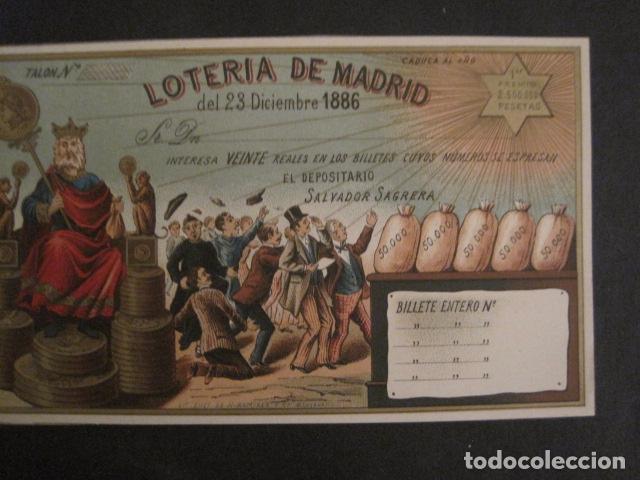 Lotería Nacional: LOTERIA DE MADRID - 23 DE DICIEMBRE DE 1886 -VER FOTOS - (V-8494) - Foto 4 - 74073551