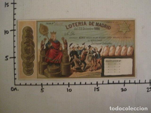 Lotería Nacional: LOTERIA DE MADRID - 23 DE DICIEMBRE DE 1886 -VER FOTOS - (V-8494) - Foto 6 - 74073551