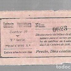 Lotería Nacional: DECIMO DE LA LOTERIA NACIONAL PATRIOTICA. SORTEO 19. CADIZ 8 DE OCTUBRE DE 1936. Lote 74111935