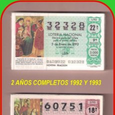 Lotería Nacional: 2 AÑOS COMPLETO 1992 Y 1993 LOTERIA NACIONAL DEL SABADO. Lote 74224299