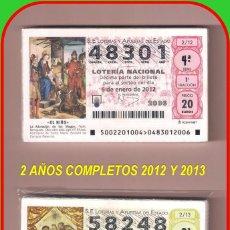 Lotería Nacional: 2 AÑOS COMPLETO 2012 Y 2013 LOTERIA NACIONAL DEL SABADO. Lote 152516426