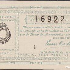 Lotería Nacional: LOTERIA NACIONAL - SORTEO - 7-1923 - SERIE 4ª - FRACCIÓN 4ª - MAHON-BALEARES. Lote 74669499