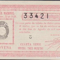 Lotería Nacional: LOTERIA NACIONAL - SORTEO 22-1926 - SERIE 4ª - FRACCIÓN 9ª - MADRID. Lote 74669847