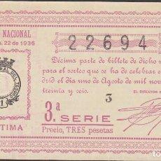Lotería Nacional: LOTERIA NACIONAL - SORTEO - 22-1936 - SERIE 3ª FRACCIÓN 7ª - SAN FERNANDO-CADIZ. Lote 74676667