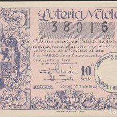 Lotería Nacional: LOTERIA NACIONAL - SORTEO - 7-1943. Lote 74911403