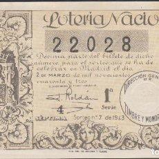 Lotería Nacional: LOTERIA NACIONAL - SORTEO - 7-1943. Lote 74911499