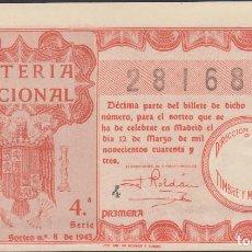 Lotería Nacional: LOTERIA NACIONAL - SORTEO - 8-1943. Lote 74911575