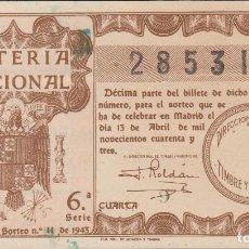 Lotería Nacional: LOTERIA NACIONAL - SORTEO - 11-1943. Lote 74911663