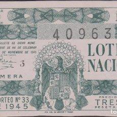 Lotería Nacional: LOTERIA NACIONAL - SORTEO - 33-1945. Lote 74912023