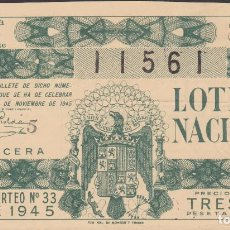 Lotería Nacional: LOTERIA NACIONAL - SORTEO - 33-1945. Lote 74912043