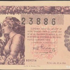 Lotería Nacional: LOTERIA NACIONAL - SORTEO - 36-1946 - SERIE 3ª FRACCIÓN 9ª - MADRID. Lote 74912235
