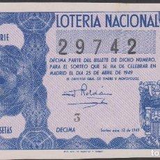 Lotería Nacional: LOTERIA NACIONAL - SORTEO - 12-1949 - SERIE 2ª FRACCIÓN 10ª - BARCELONA. Lote 74912707