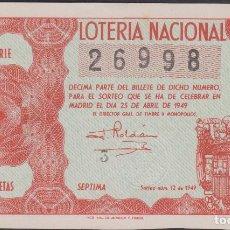 Lotería Nacional: LOTERIA NACIONAL - SORTEO - 12-1949 - SERIE 6ª FRACCIÓN 7ª - VICH-BARCELONA. Lote 74912755