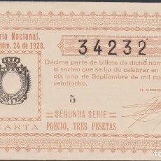 Lotería Nacional: LOTERIA NACIONAL - SORTEO - 24-1928 - SERIE 2ª - FRACCIÓN 4ª - ORIHUELA-ALICANTE. Lote 75099527