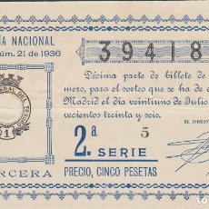 Lotería Nacional: LOTERIA NACIONAL - SORTEO - 21-1936 - SERIE 2ª FRACCIÓN 3ª TETUAN-CADIZ. Lote 75104871