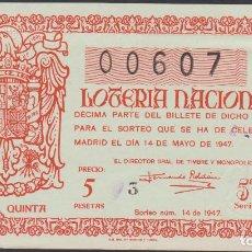 Lotería Nacional: LOTERIA NACIONAL - SORTEO - 14-1947 - SERIE 5ª FRACCIÓN 5ª - BARCELONA. Lote 75107559