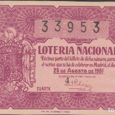 Lotería Nacional: LOTERIA NACIONAL - SORTEO - 24-1951 - SERIE 6ª FRACCIÓN 4ª - VALENCIA. Lote 75120403