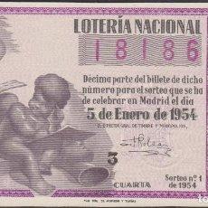Lotería Nacional: LOTERIA NACIONAL - SORTEO - 1-1954 - SERIE 6ª FRACCIÓN 4ª - VALENCIA. Lote 75137235