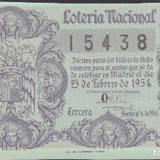 Lotería Nacional: LOTERIA NACIONAL - SORTEO - 6-1954 - SERIE 5ª FRACCIÓN 3ª - BARCELONA. Lote 75138351