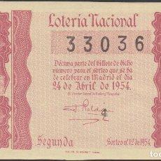 Lotería Nacional: LOTERIA NACIONAL - SORTEO - 12-1954 - SERIE 3ª FRACCIÓN 2ª - BARCELONA. Lote 75139043