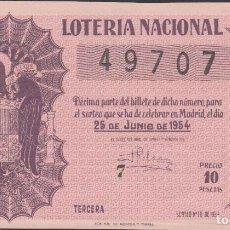 Lotería Nacional: LOTERIA NACIONAL - SORTEO - 18-1954 - SERIE 2ª FRACCIÓN 3ª - MALAGA. Lote 75183467