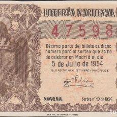 Lotería Nacional: LOTERIA NACIONAL - SORTEO - 19-1954 - SERIE 1ª FRACCIÓN 9ª - VALENCIA. Lote 75183595