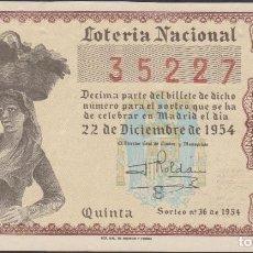Lotería Nacional: LOTERIA NACIONAL - SORTEO - 36-1954 - SERIE 6ª FRACCIÓN 5ª - VALENCIA. Lote 75184327