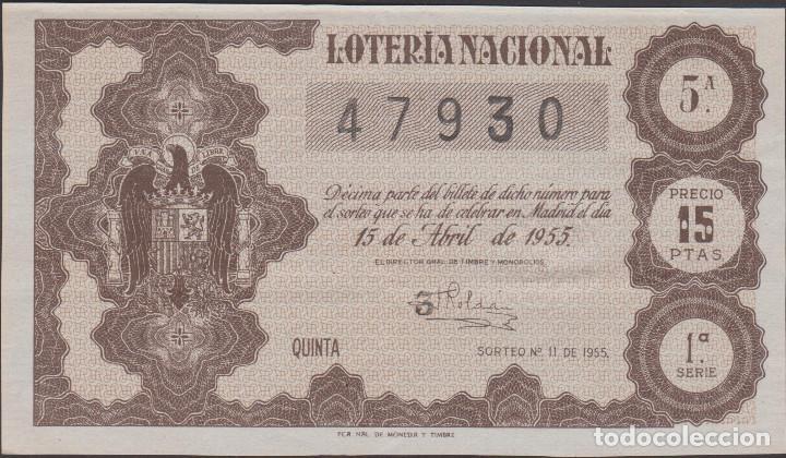 LOTERIA NACIONAL - SORTEO - 11-1955 - SERIE 1ª FRACCIÓN 5ª - BARCELONA (Coleccionismo - Lotería Nacional)