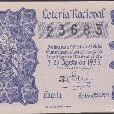 Lotería Nacional: LOTERIA NACIONAL - SORTEO - 22-1955. Lote 75186911