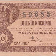 Lotería Nacional: LOTERIA NACIONAL - SORTEO - 29-1955 - SERIE 2ª FRACCIÓN 2ª - PALMA DE MALLORCA. Lote 75187675