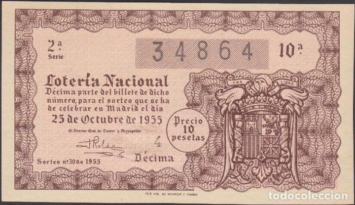 LOTERIA NACIONAL - SORTEO - 30-1955 (Coleccionismo - Lotería Nacional)