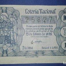 Lotería Nacional: DECIMO DE LOTERIA DE 1958 SORTEO 6. Lote 76194095