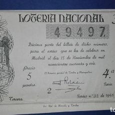 Lotería Nacional: DECIMO DE LOTERIA DE 1946 SORTEO 32. Lote 76860555