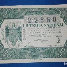 Lotería Nacional: DECIMO DE LOTERIA DE 1946 SORTEO 23. Lote 76860759