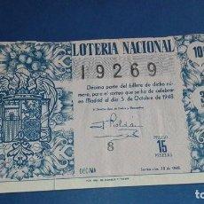 Lotería Nacional: DECIMO DE LOTERIA DE 1948 SORTEO 28. Lote 77273409