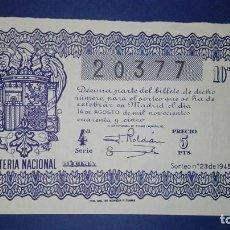 Lotería Nacional: DECIMO DE LOTERIA DE 1945 SORTEO 23. Lote 77504705