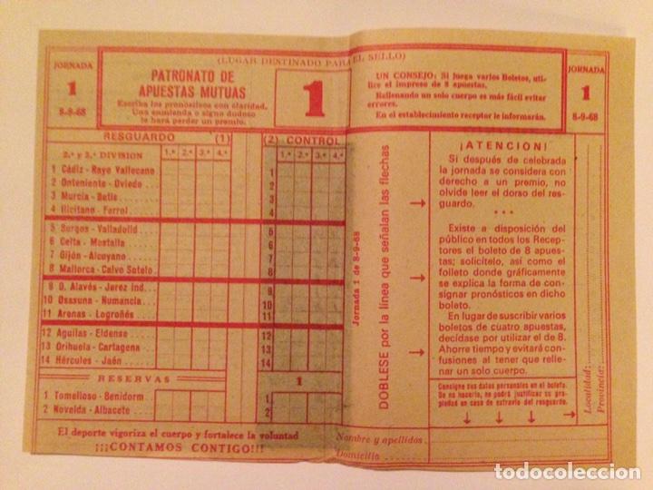 QUINIELA/BOLETO/DEPORTIVO. JORNADA 1. (8-8-68).- (Coleccionismo - Lotería Nacional)
