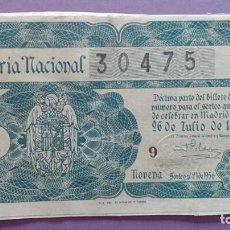 Lotería Nacional: DECIMO DE LOTERIA DE 1956 SORTEO 21. Lote 78425381