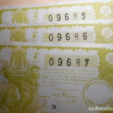 Lotería Nacional: LOTE DE 3 DECIMOS DE LOTERIA NACIONAL DEL SORTEO 34 DE 2 DE DICIEMBRE 1942. NUMEROS CORRELATIVOS. Lote 78576173