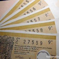 Lotería Nacional: LOTE DE 5 DECIMOS DE LOTERIA NACIONAL DEL SORTEO 33 DE 23 DE NOVIEMBRE 1942. NUMEROS CORRELATIVOS. Lote 78576597