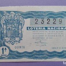 Lotería Nacional: DECIMO DE LOTERIA DE 1945 SORTEO 35. Lote 78583281