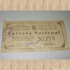 Lotería Nacional: PARTICIPACIÓN UNA PESETA 20.775 02/01/1942. KIOSCO MODERNO MANUEL BLESA CULLERA. Lote 80783558