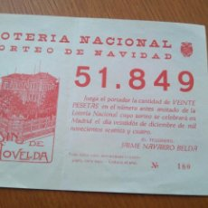 Lotería Nacional: PAPELETA LOTERÍA NACIONAL SORTEO DE NAVIDAD 1964 CASINO DE NOVELDA. Lote 82773811