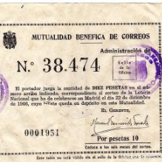 Lotería Nacional: PARTICIPACIÓN DE LOTERÍA 1966 DE MUTUALIDAD BENÉFICA DE CORREOS. Nº 38474. Lote 82921572
